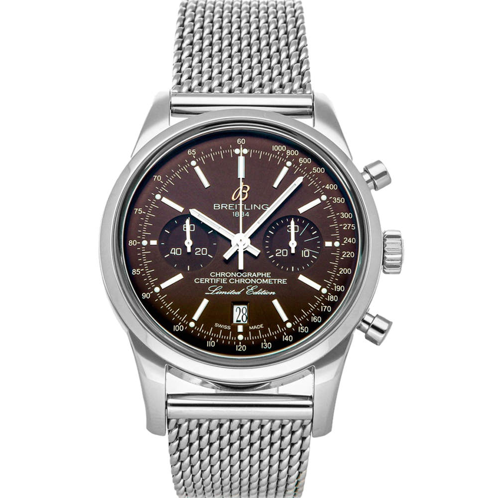 Breitling Brown Stainless Steel Transocean Chronograph Limited Edition AB01557U/Q610 Men's Wristwatch 43 MM