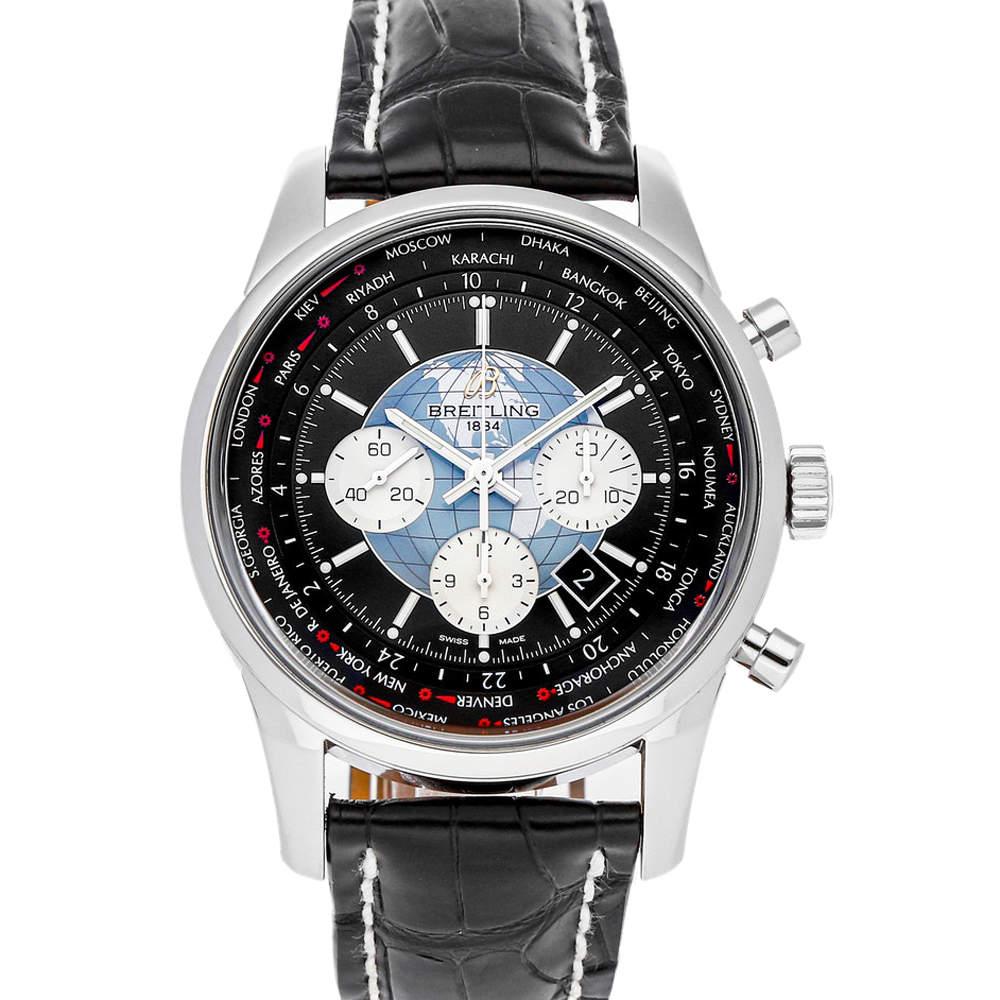 Breitling Black Stainless Steel Transocean Unitime Chronograph AB0510U4/BB62 Men's Wristwatch 46 MM