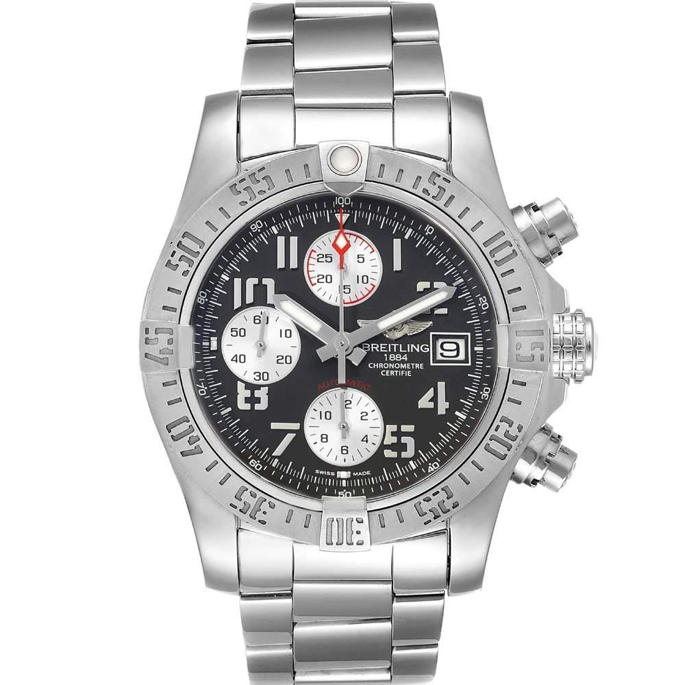 Breitling Grey Stainless Steel Super Avenger A13381 Men's Wristwatch 43 MM