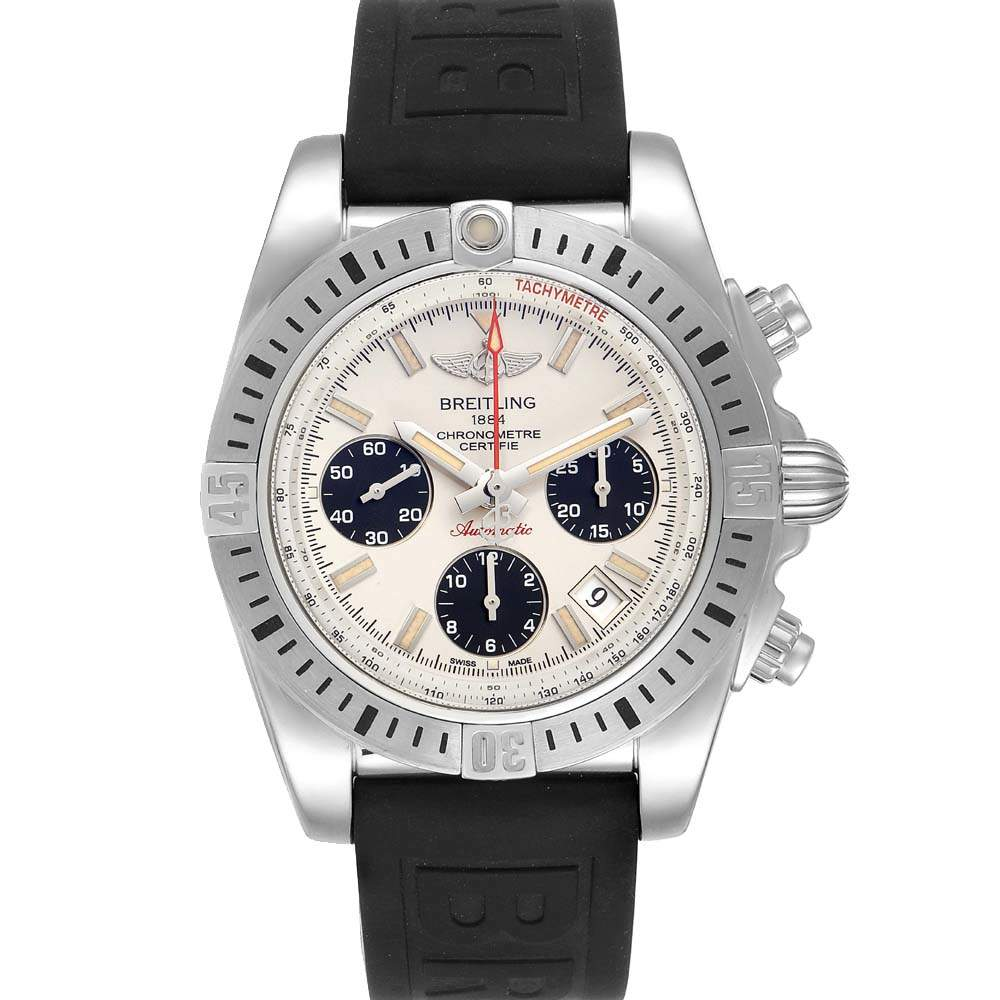 Breitling Silver Stainless Steel Chronomat Airborne AB0144 Men's Wristwatch 41 MM