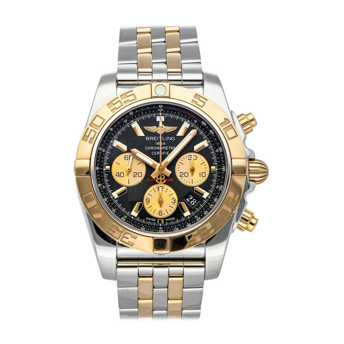 Breitling Black 18K Rose Gold And Stainless Steel Chronomat CB011012/B968 Men's Wristwatch 44 MM