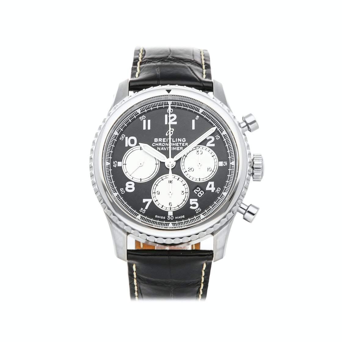 Breitling Black Stainless Steel Navitimer 8 B01 Chronograph AB0117131B1P1 Men's Wristwatch 43 MM