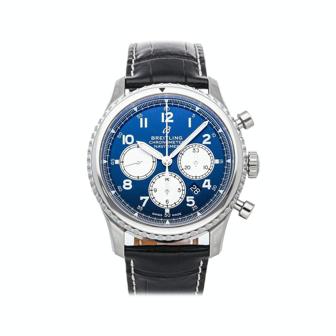 Breitling Bleu Stainless Steel Navitimer 8 B01 Chronograph AB0117131C1P1 Men's Wristwatch 43 MM