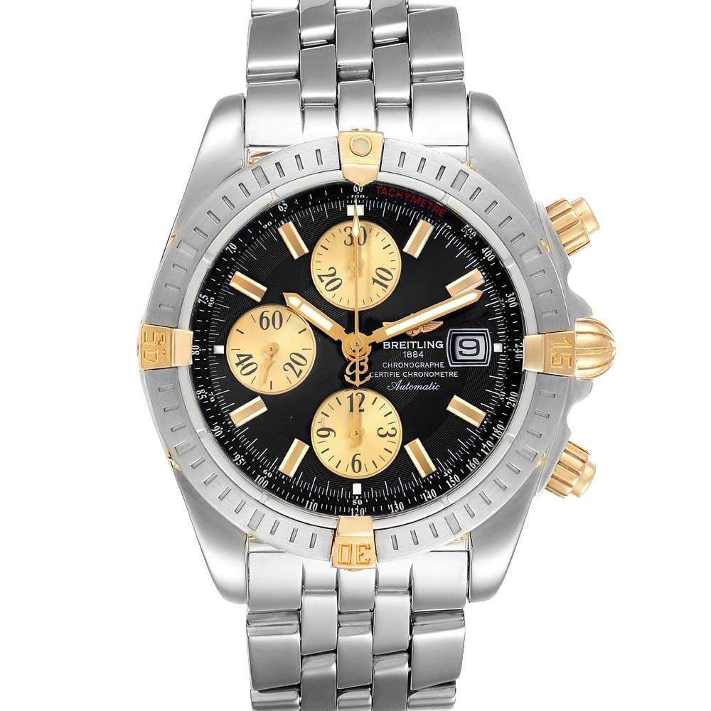 Breitling Black 18K Yellow Gold And Stainless Steel Chronomat B13356 Men's Wristwatch 44 MM