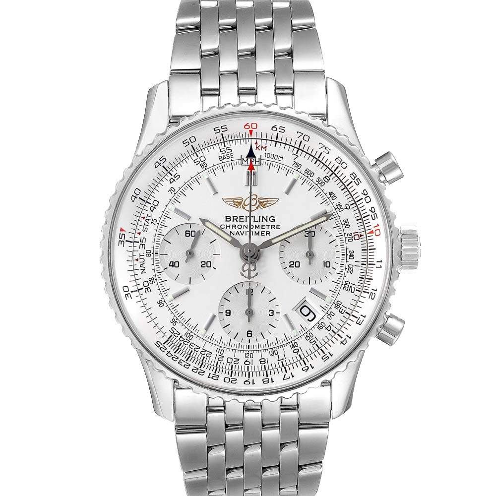 Breitling Silver Stainless Steel Navitimer Chronograph A23322 Men's Wristwatch 42 MM