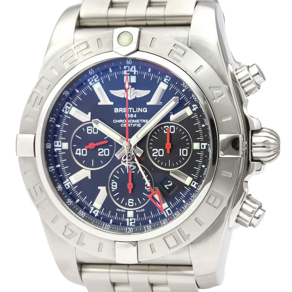 Breitling Blue Stainless Steel Chronomat Ab0412 Automatic Men's Wristwatch 47 MM