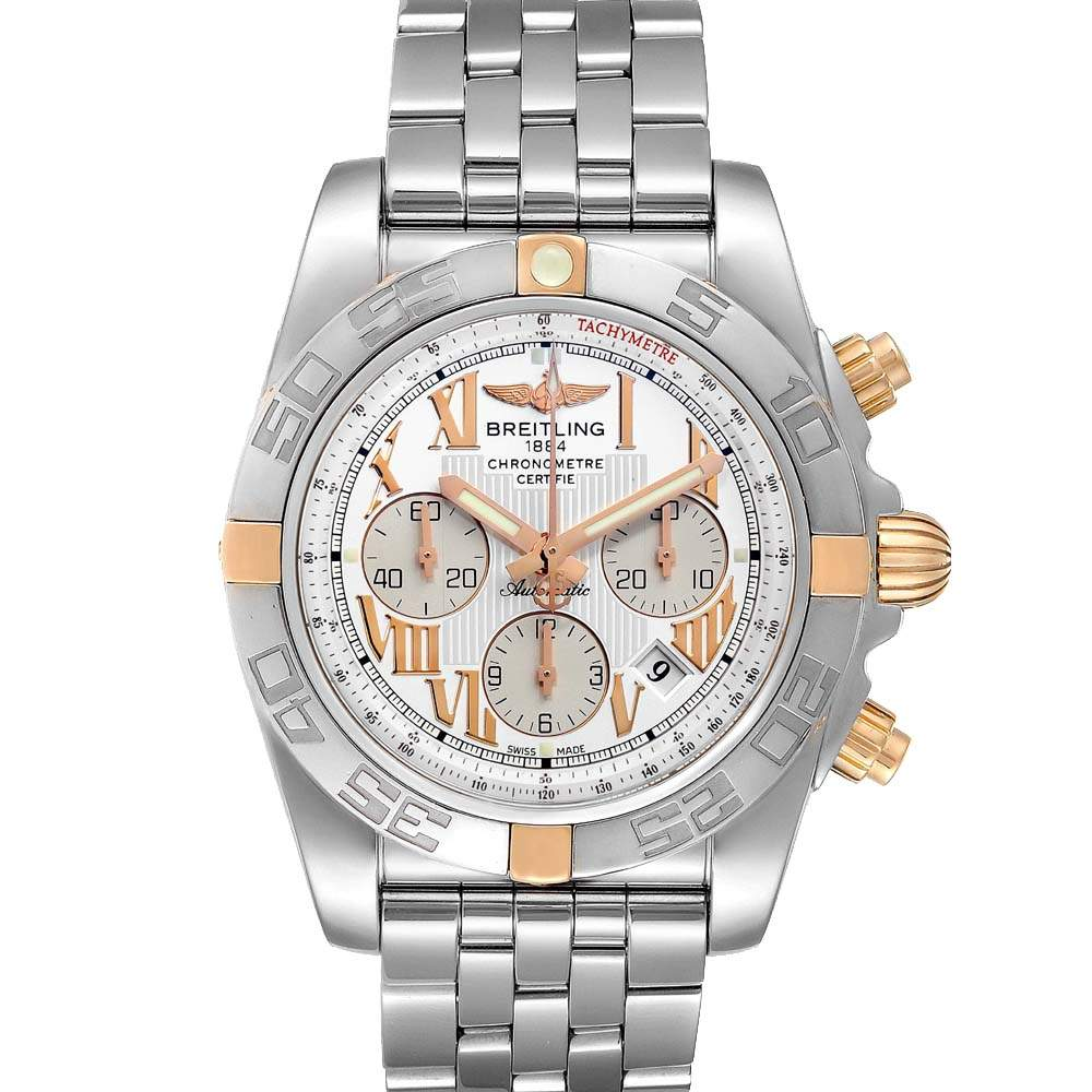 Breitling Silver 18K Rose Gold And Stainless Steel Chronomat IB0110 Men's Wristwatch 43.5 MM