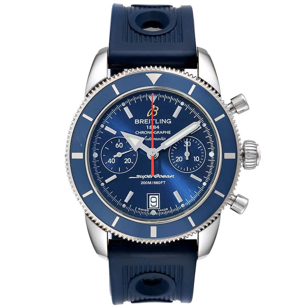 Breitling Blue Stainless Steel SuperOcean Heritage A23370 Men's Wristwatch 44 MM