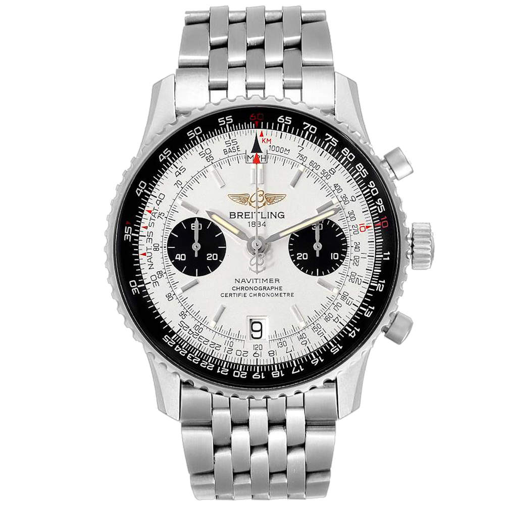 ساعة يد رجالية بريتلينغ نافي تايمر إكسيمبلييرز إصدار محدود A23330 ستانلس ستيل فضية 41.5 مم