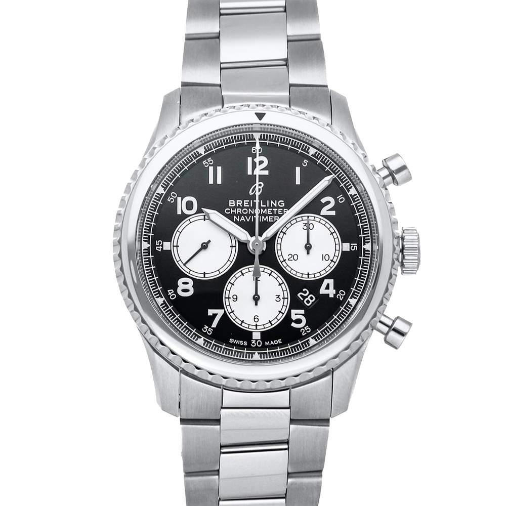 Breitling Black Stainless Steel Navitimer 8 B01 Chronograph AB0117131/B1A1 Men's Wristwatch 43 MM