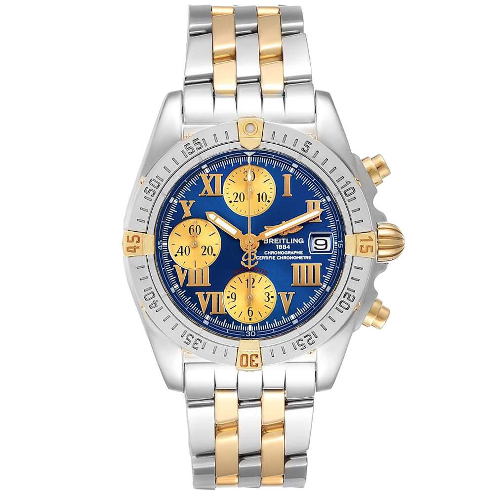 ساعة يد رجالية بريتلينغ B13358 ذهب أصفر عيار 18 وستانلس ستيل زرقاء 39مم