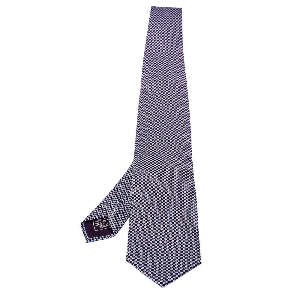 Brioni Purple Printed Silk Traditional Tie
