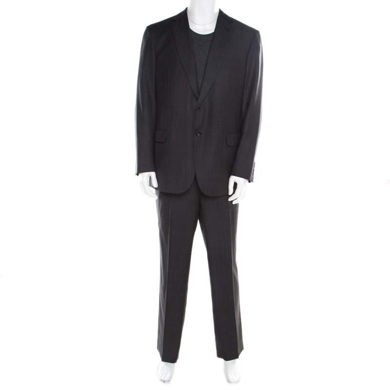 Brioni Grey Herringbone Pattern Wool Tailored Suit 2XL