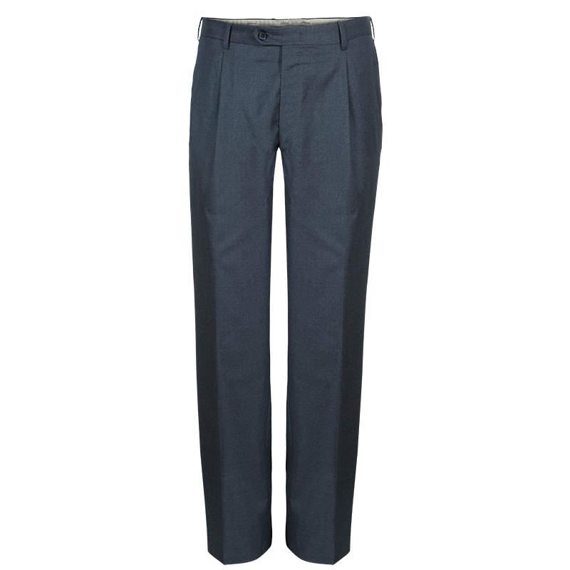 Brioni Men's Grey Wool Trousers L