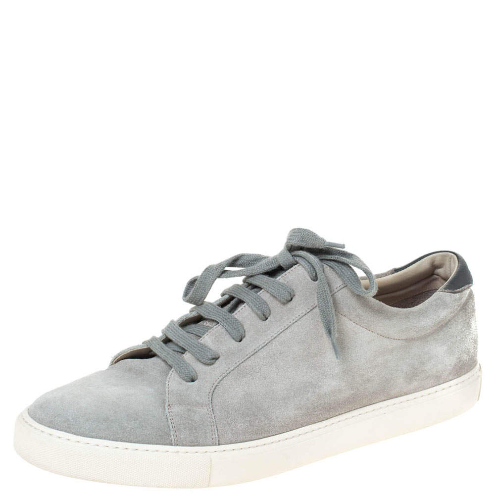 Brunello Cucinelli Grey Suede and Leather Trim Low Top Sneakers Size 45