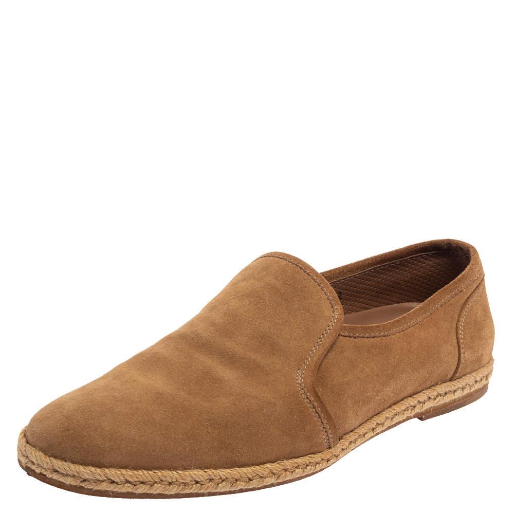 Brunello Cucinelli Light Brown Suede Espadrille Loafers Size 42
