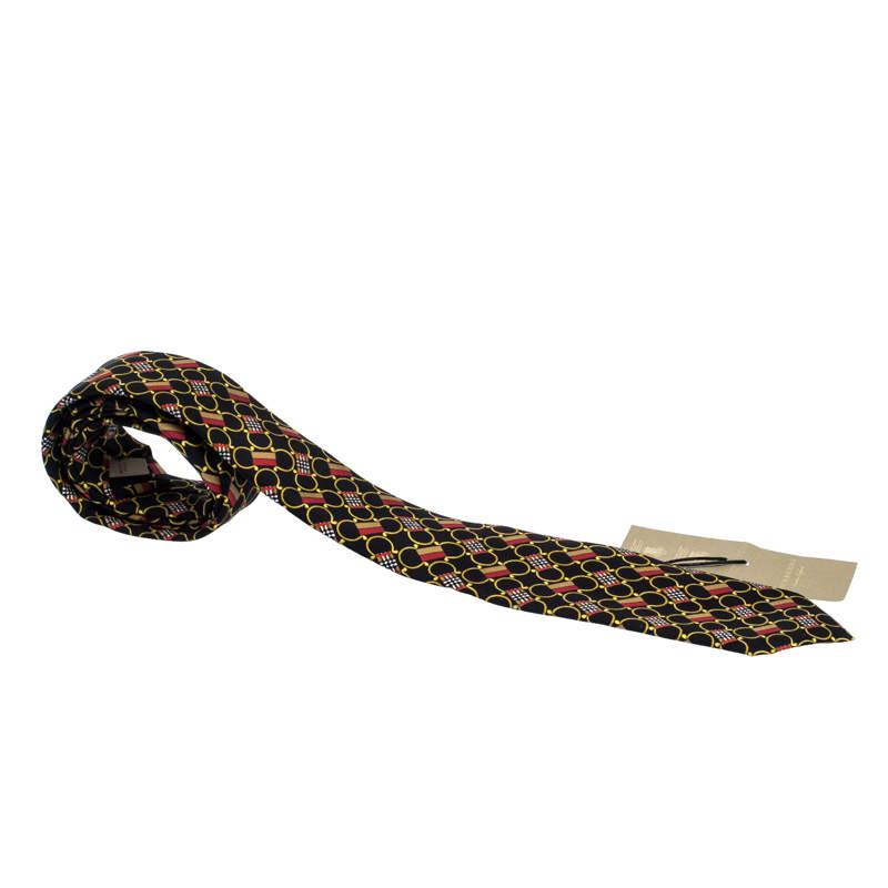 Burberry Black Archive Scarf Print Narrow Silk Tie