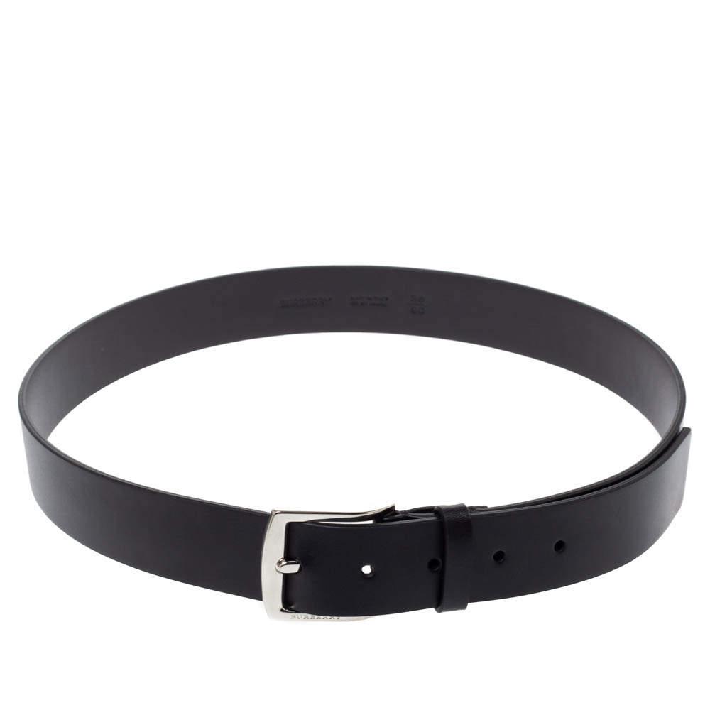 Burberry Black Leather Gray35 Buckle Belt 90CM