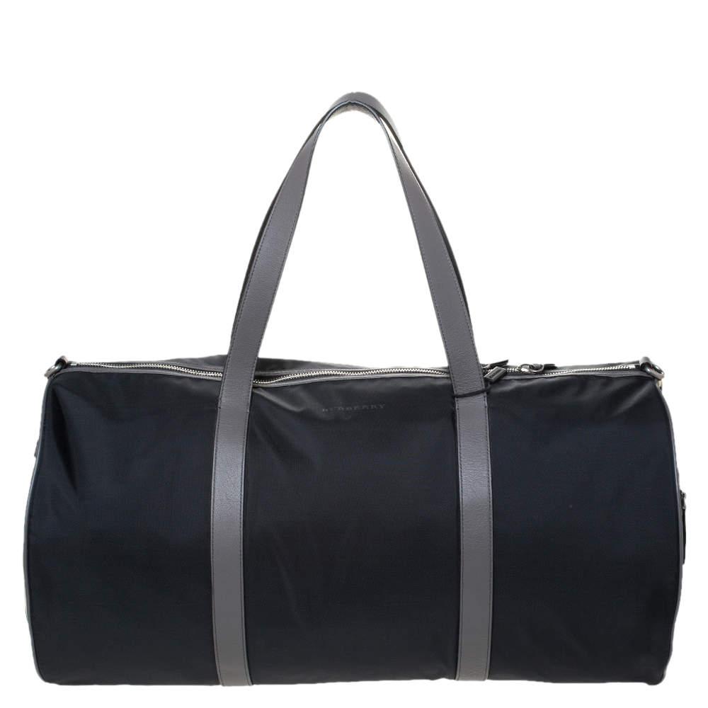 Burberry Black/Beige Nylon Large Kennedy Duffle Bag