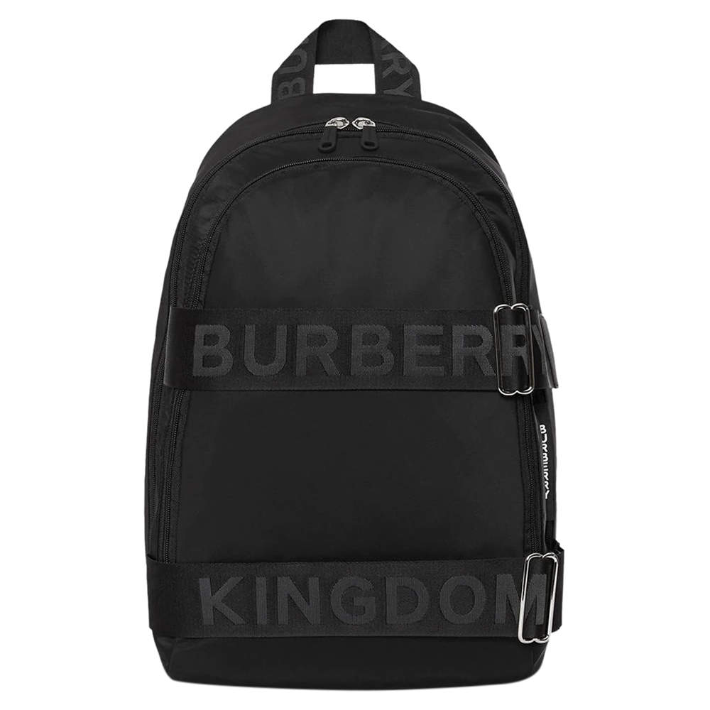Burberry Black Nylon and Leather Large Logo Backpack