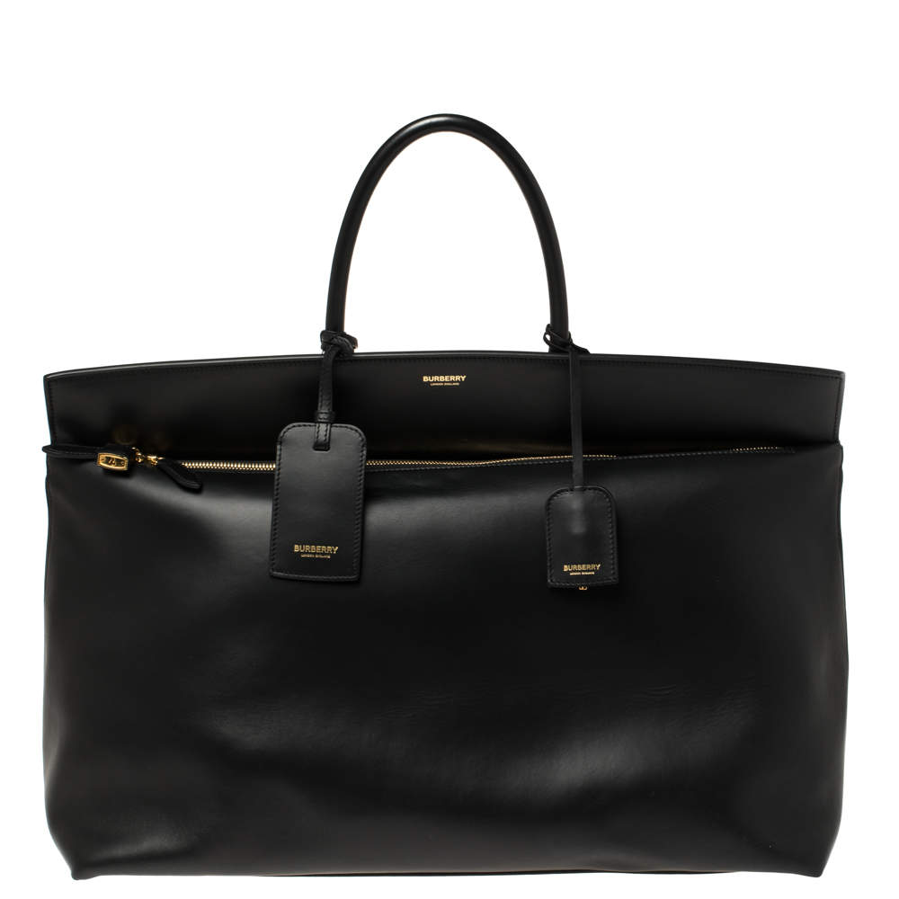 Burberry Black Leather Extra Large Society Top Handle Bag