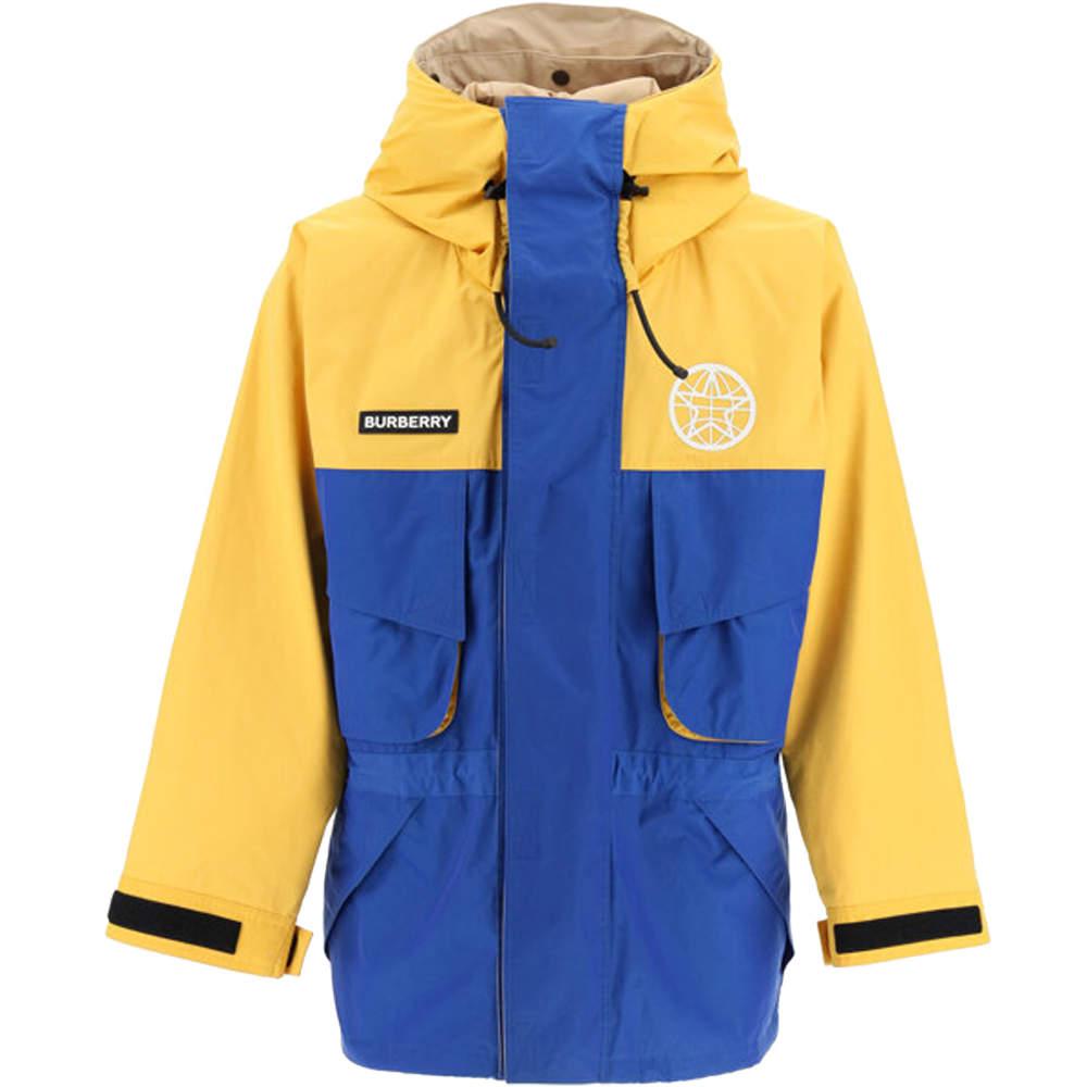 Burberry Yellow/Blue Globe Print Hooded Jacket Size L