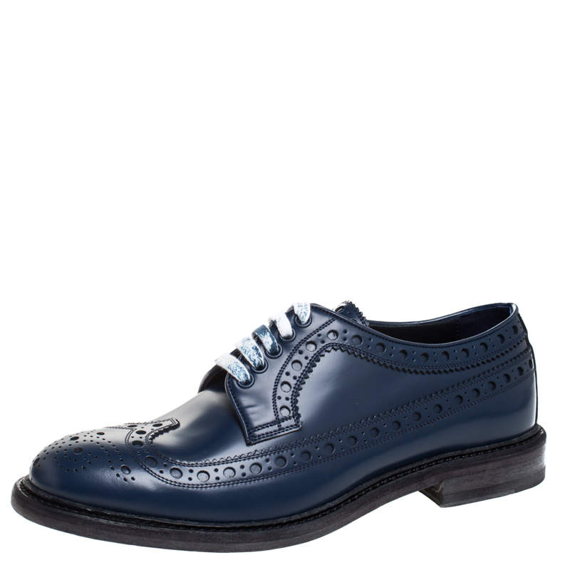 Burberry Blue Brogues Leather Alexton Lace Up Derby Size 40.5