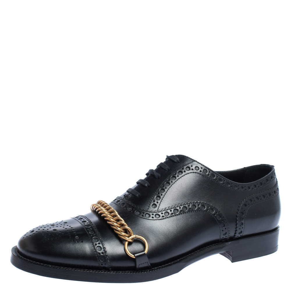 Burberry Black Brogue Leather Chain Link Lace Up Oxford Size 42.5