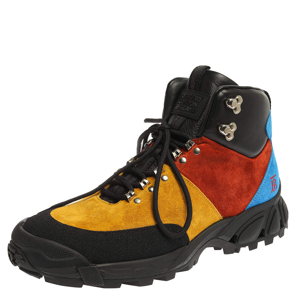 Burberry Multicolor Suede and Leather Hiking Ankle Boots Size 43