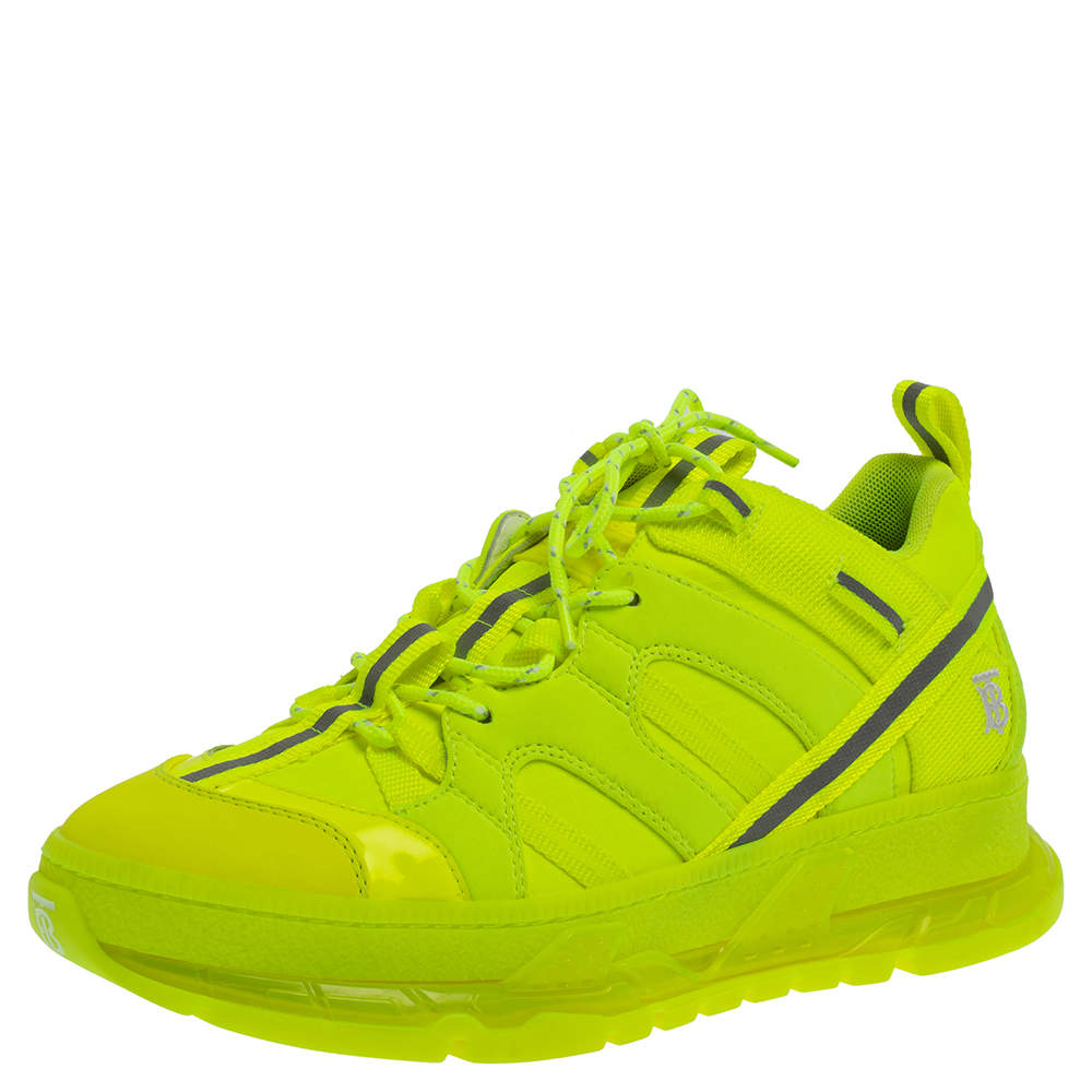 Burberry Fluorescent Yellow Nylon And Polyamide Union Low Top Sneakers Size 40