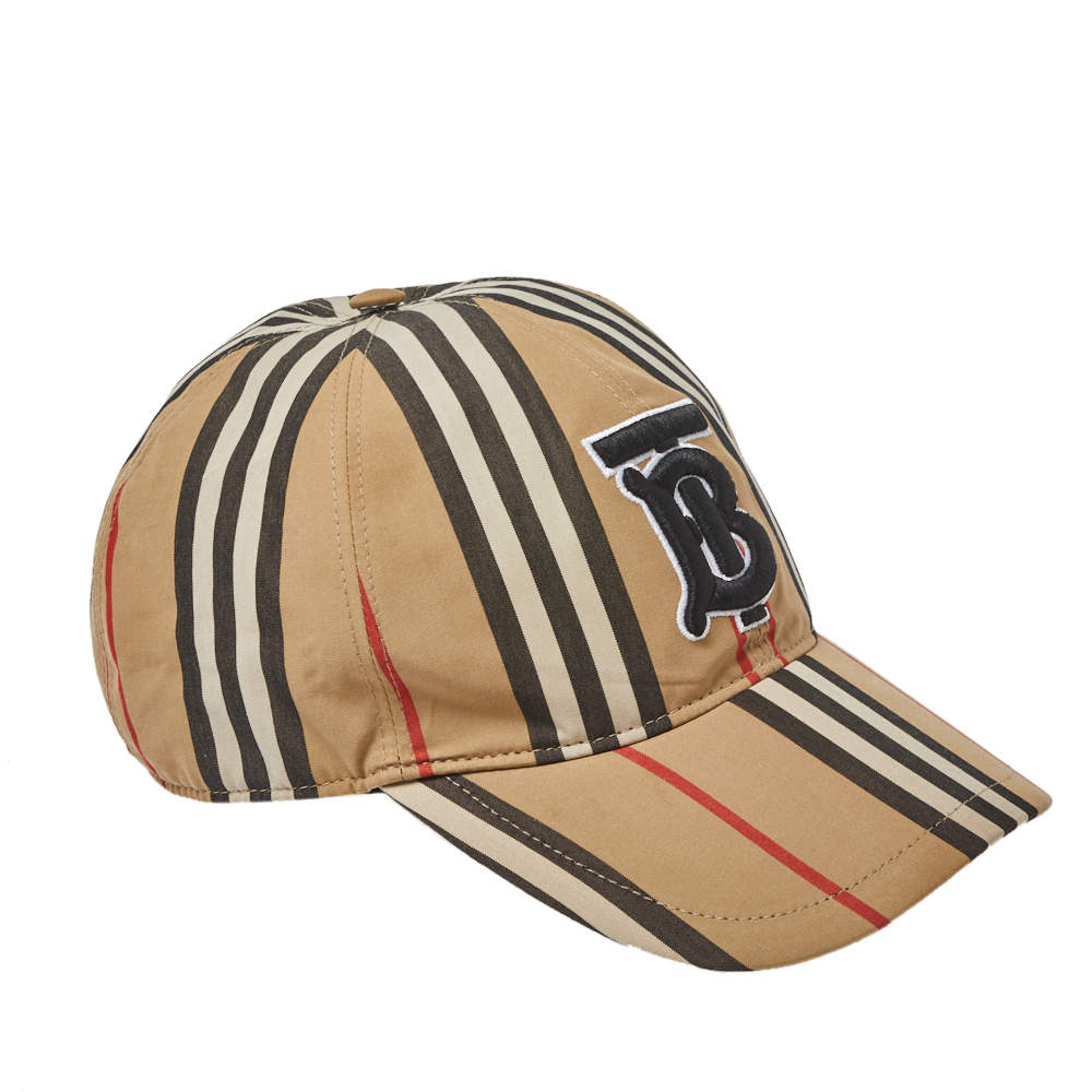 Burberry Beige Striped Cotton Baseball Cap L