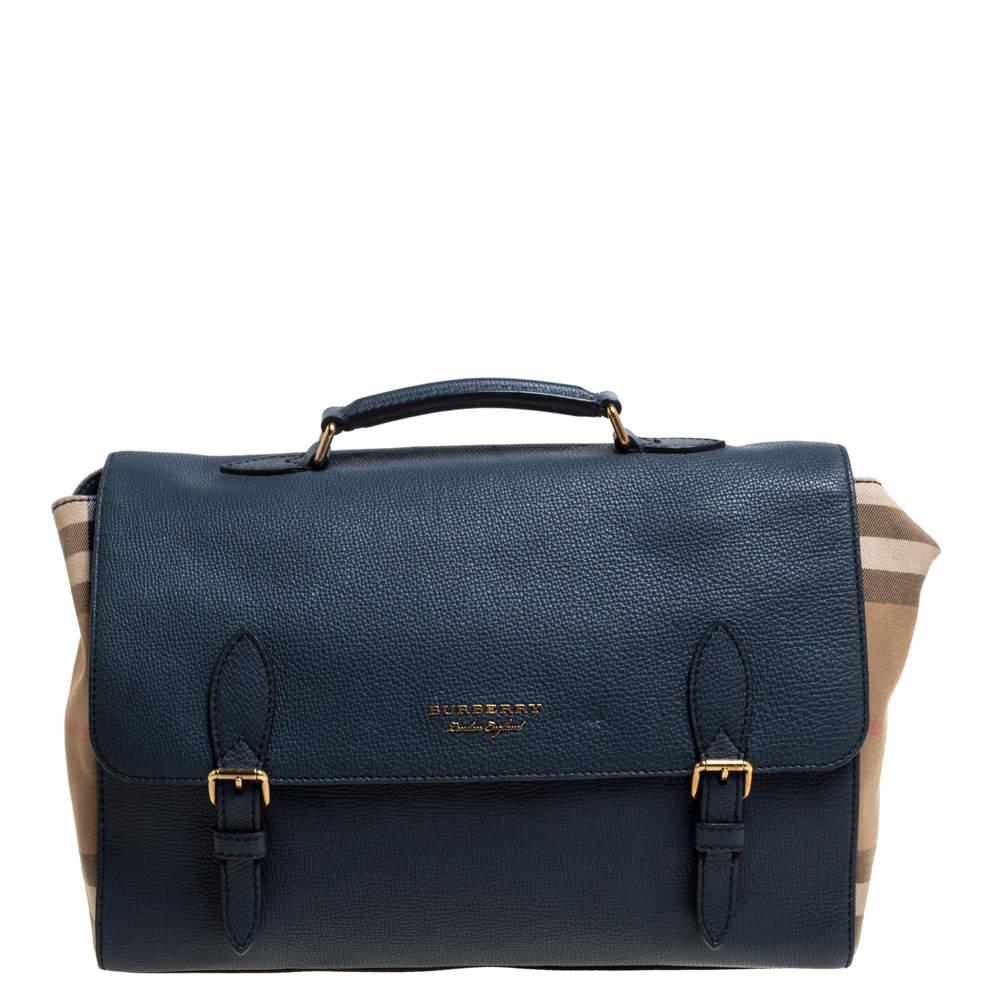 Burberry Blue/Beige Nova Check Canvas and Leather Messenger Bag
