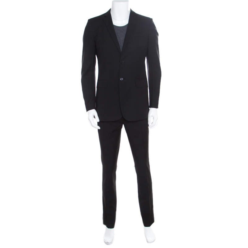 Burberry London Black Wool Tailored Suit M