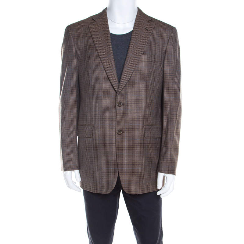 Burberry Brown Checked Wool Tailored Kensington Blazer L