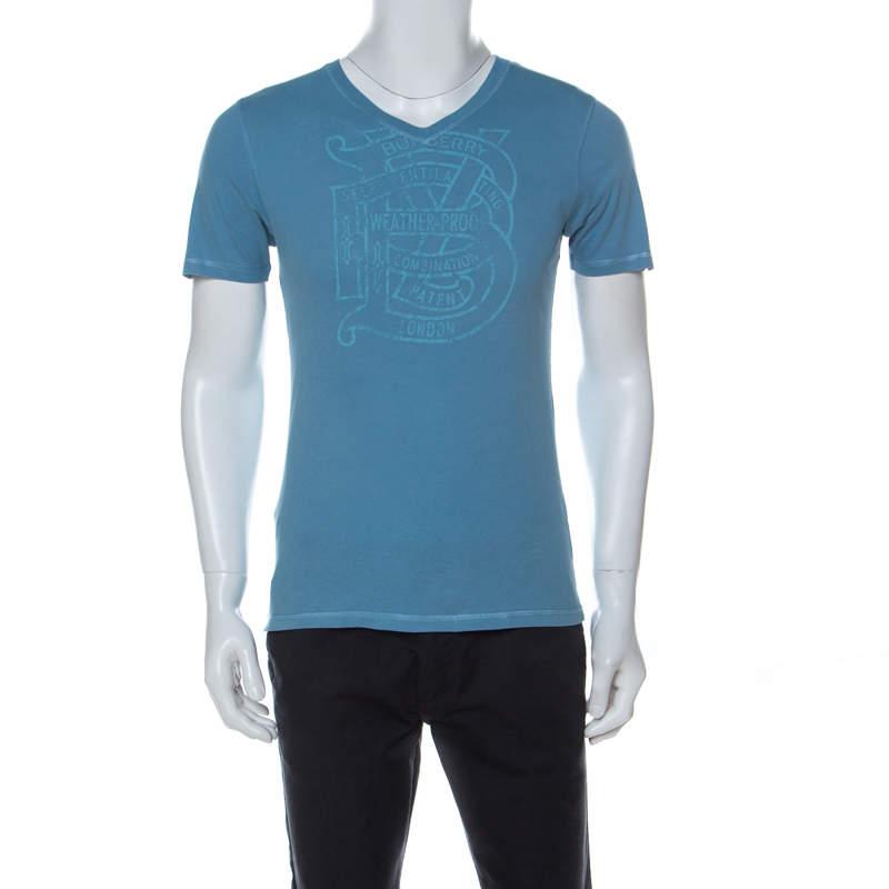 Burberry London Aqua Blue Tonal Print Cotton V Neck T-ShIrt S