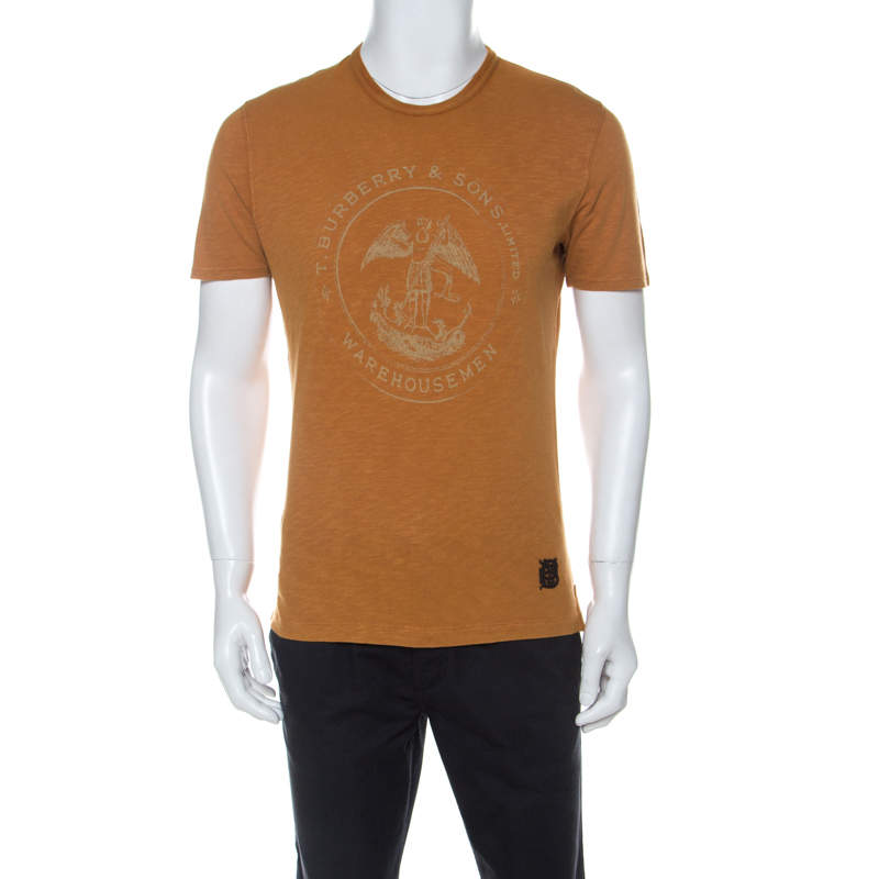 Burberry Brit Mustard Yellow Pigment Dyed Cotton Printed Crew Neck T-Shirt M