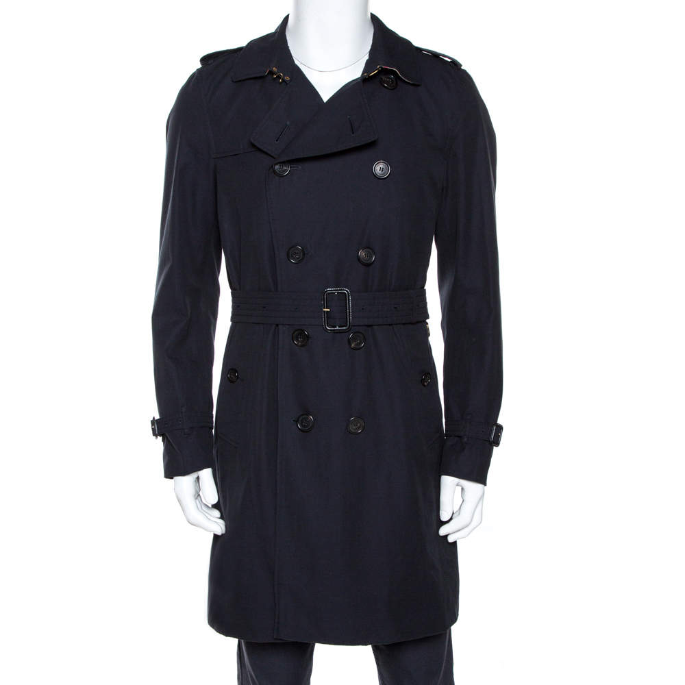 Burberry Navy Blue Cotton Kensington Mid Length Trench Coat L