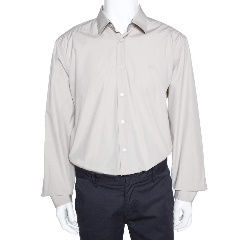 Burberry Brit Light Beige Cotton Nova Check Detail Shirt XXXL