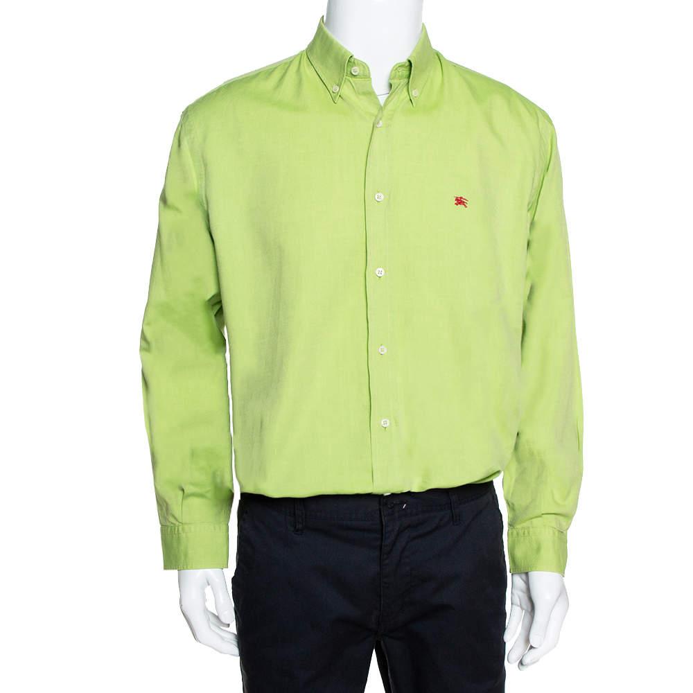 Burberry Vintage Green Cotton Long Sleeve Button Down Shirt L