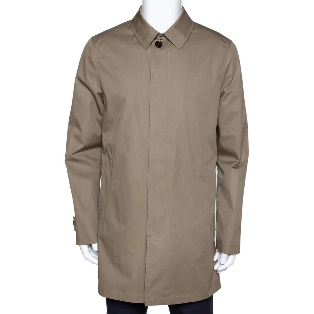 Burberry Brit Khaki Cotton Button Front Car Coat M