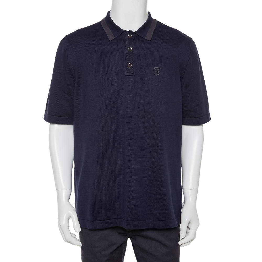 Burberry Navy Blue Cotton Rosston Polo T-Shirt XL