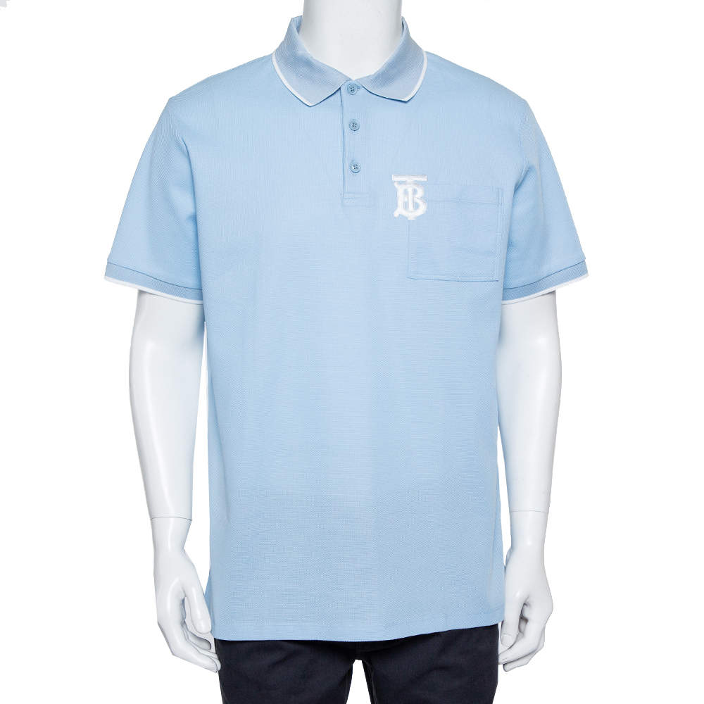 Burberry Blue Cotton Pique Logo Embroidered Polo T-Shirt L