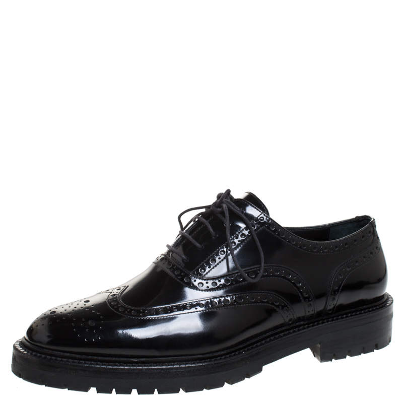 Burberry Black Brogue Leather Dugmar Lace Up Oxfords Size 41