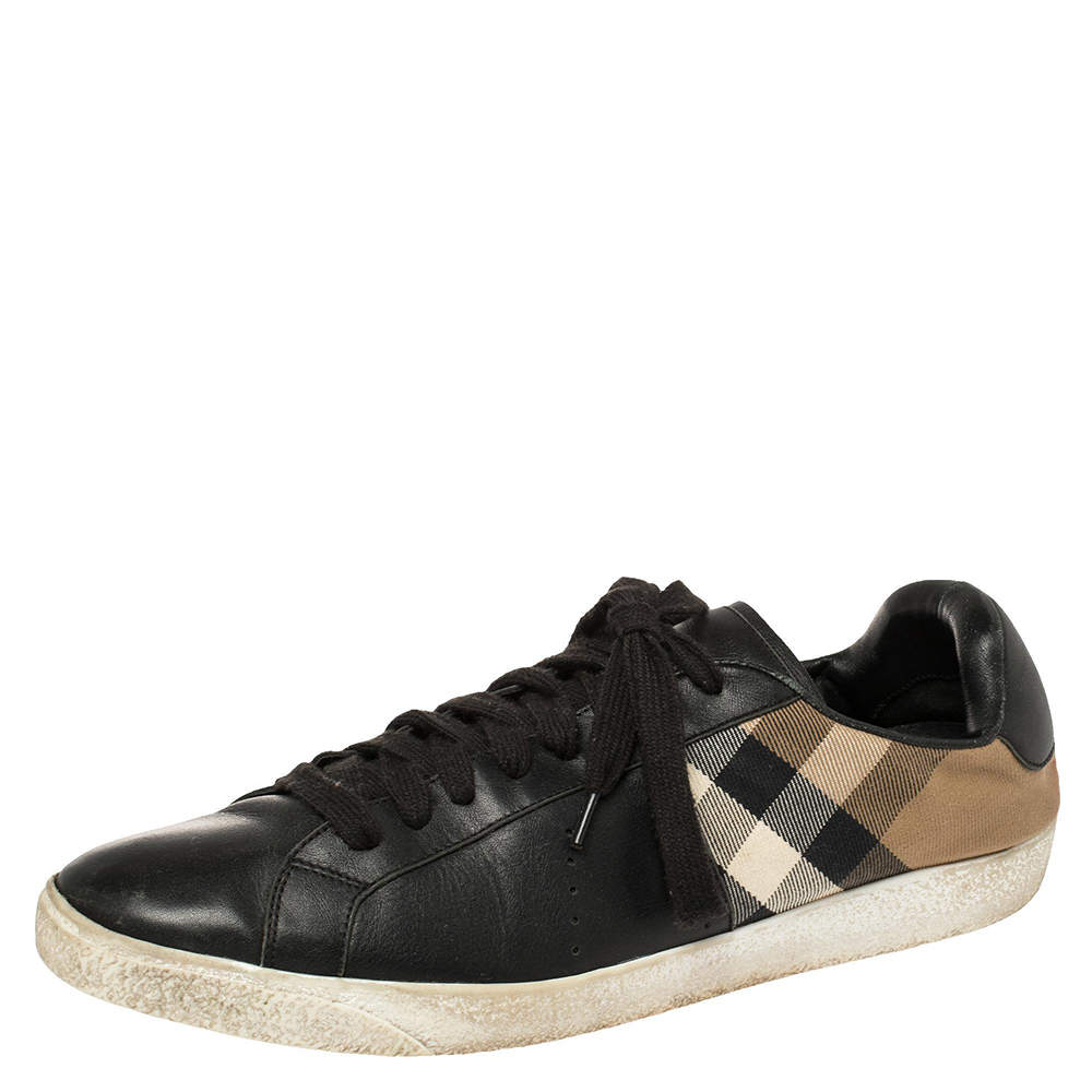 Burberry Black House Check Canvas And Leather Sneakers Size 44