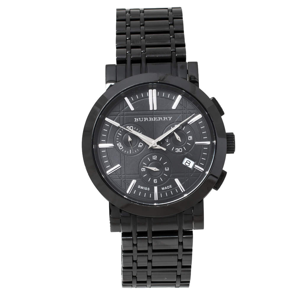 Burberry Black PVD coated Stainless Steel Heritage BU1373 Men's Wristwatch 40 mm