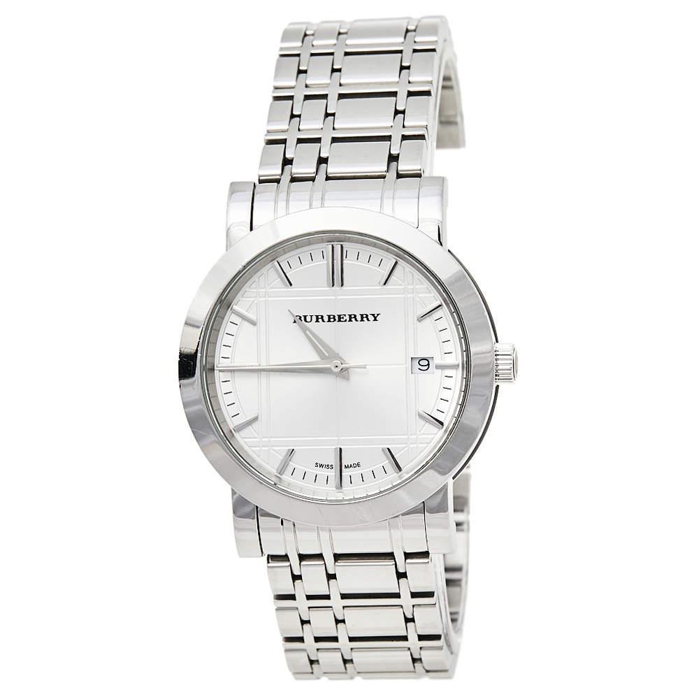Burberry Silver Stainless Steel Heritage BU1350 Men's Wristwatch 38 mm
