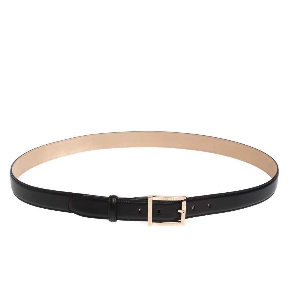 Bvlgari Black Leather Buckle Belt 110CM