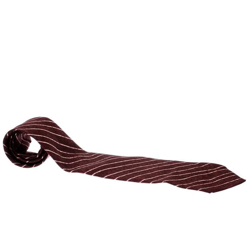 Bvlgari X Davide Pizzigoni Burgundy Diagonal Striped Silk Seven Fold Tie