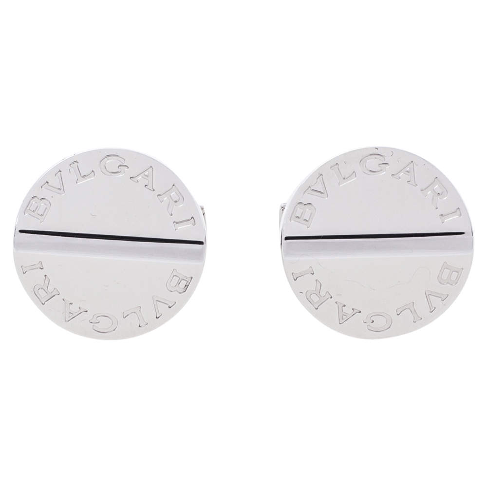 Bvlgari Silver Round Cufflinks