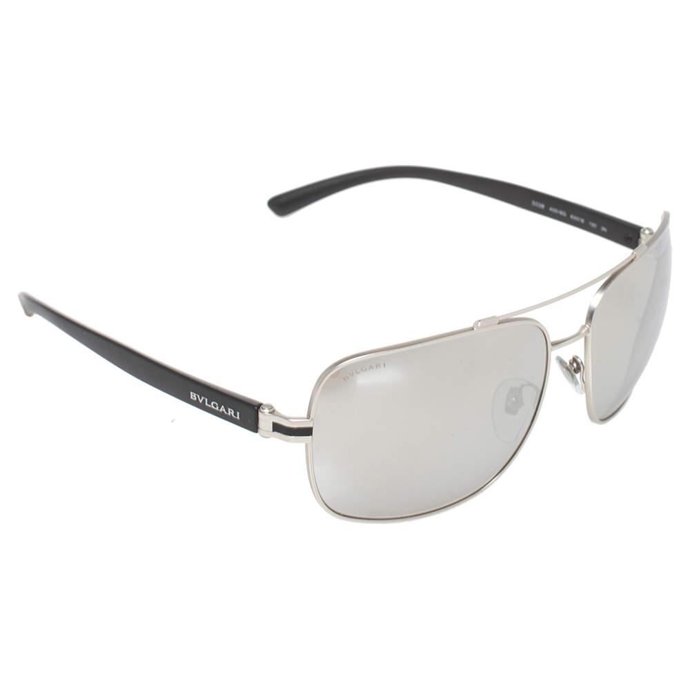 Bvlgari Silver Tone/Grey Mirrored 5038 Navigator Sunglasses